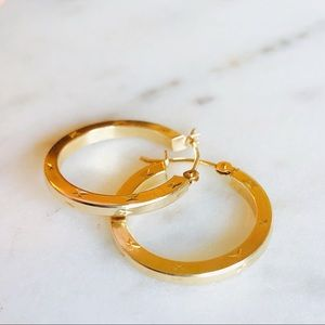 """Jewelry - Real 14K Gold Diamond Etched 3/4"""" Hoops"""